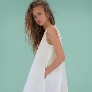Zara Voluminous Poplin Cotton White Dress A Line